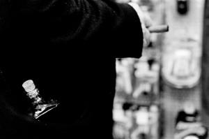 Bottle of alcohol in the pocket of Emir Kusturica.