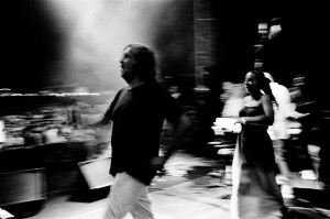 Emir Kusturica dancing on the stage at the concert of No Smoking Orchestra.